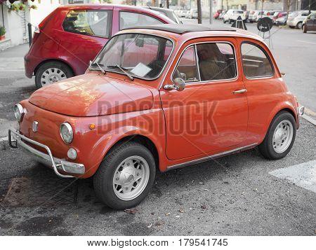 Red Fiat 500 Car In Turin