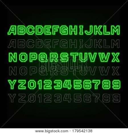 Green neon typeface. Light turn on and off. Type letters and numbers on a dark background. Vector typeset for your design.
