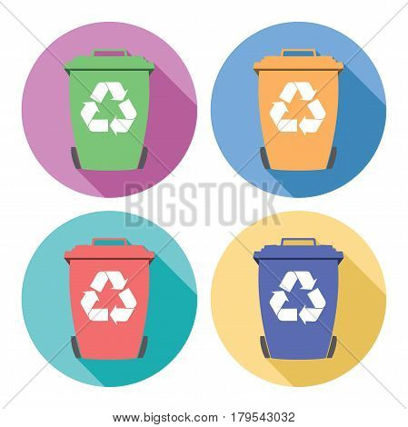 vector set of colorful flat recycling wheelie bin icons with recycle arrow symbols