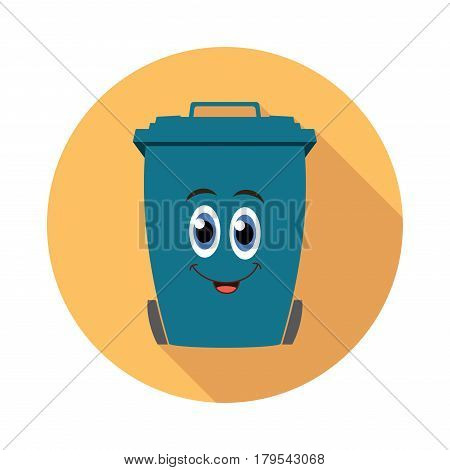 vector flat recycling wheelie bin cartoon icon ready to store rubbish recycling and garden waste isolated on white background