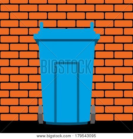vector illustration of recycling wheelie bin against the background of a brick wall