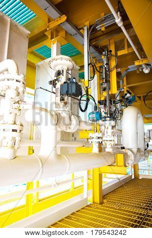 Automated Pneumatic Control Valve in oil and gas process platform offshore
