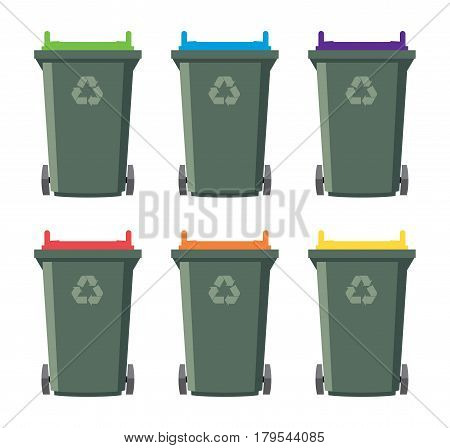 vector set of recycling wheelie bin icons. isolated on white background industrial recycle of waste and garbage concept symbols
