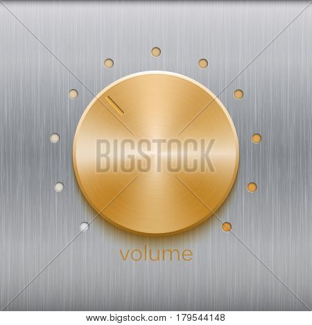 Volume button, sound control, music knob with golden brushed texture and point scale isolated on metal texture background