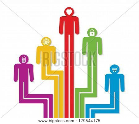 vector abstract concept of social crowd of people abstract generation or leadership background with colorful people symbols