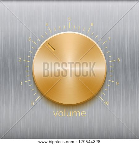 Volume button, sound control, music knob with golden brushed texture and number scale isolated on metal texture background