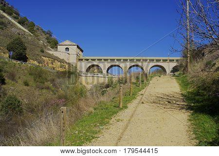 Aqueduct of the Canal de Isabel II in Patones de Arriba. Madrid's community. Spain