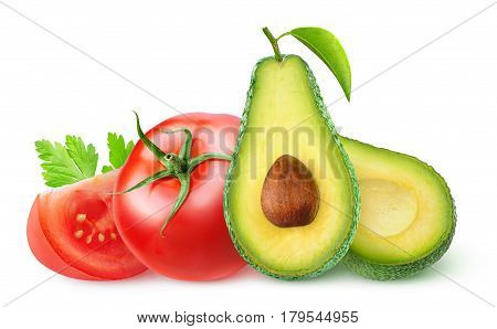 Isolated Avocado And Tomatoes