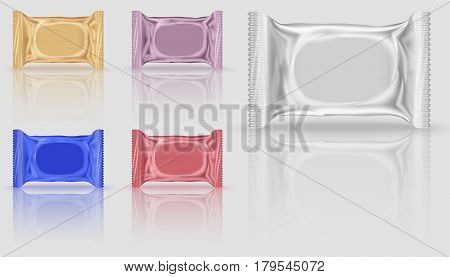 Five mock-up biscuits package in different colors, orange and red, purple and blue. Blank Foil Packaging Plastic Package for design in 3d illustration