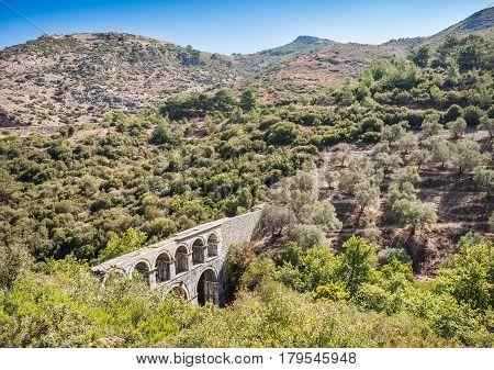 Ruins of ancient Pollio aqueduct bringe in Izmir Province. Turkey