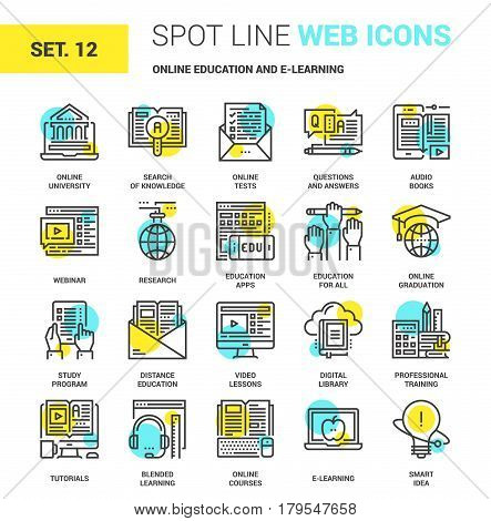 Vector set of online education and e-learning spot line web icons. Each icon with adjustable strokes neatly designed on pixel perfect 64X64 size grid. Fully editable and easy to use.