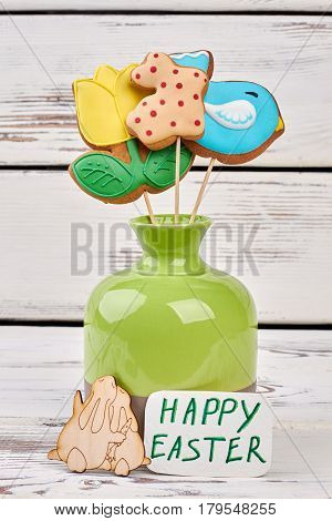 Vase with cookies, Easter card. Food and plywood craft.