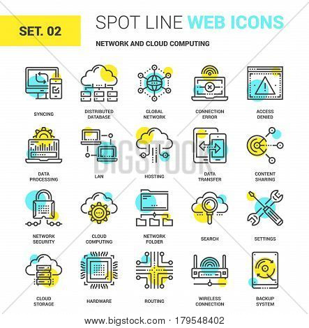 Vector set of network and cloud technology spot line web icons. Each icon with adjustable strokes neatly designed on pixel perfect 64X64 size grid. Fully editable and easy to use.