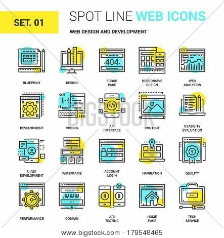 Vector set of web design and development spot line web icons. Each icon with adjustable strokes neatly designed on pixel perfect 64X64 size grid. Fully editable and easy to use.