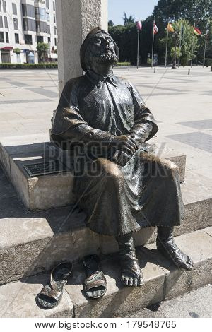 LEON, SPAIN - JULY 26: Leon (Castilla y Leon Spain): statue representing the pilgrim of Santiago in the square of San Marcos palace