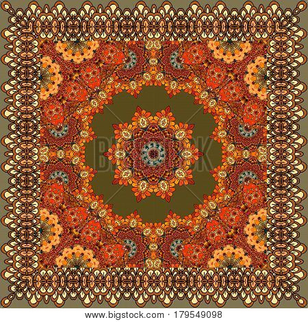 Beautiful carpet or tablecloth with flower mandala and ornamental frame in indian style. Bandana print, greeting card, packaging design.