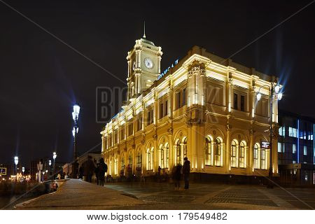 Moscow - 10 January 2017: Yaroslavsky Train Station In Moscow, Night View