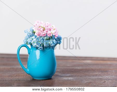 Photo Of Cute Bunch Of Flowers In Vase On The Wonderful White Background