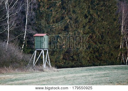 Wooden Hunters High Seat hunting tower. Hunting.