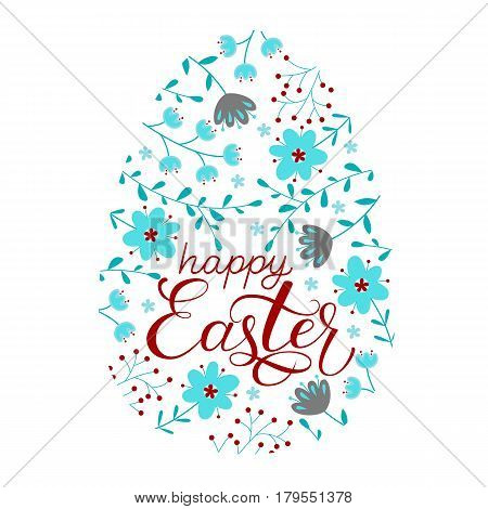 Easter greeting card with flowers, branches nd lettering