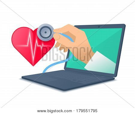 Laptop red heart shape pulse line doctor's hand holding a stethoscope. Medic through the computer screen checking heartbeat. Tele online remote medicine concept. Vector flat isolated illustration