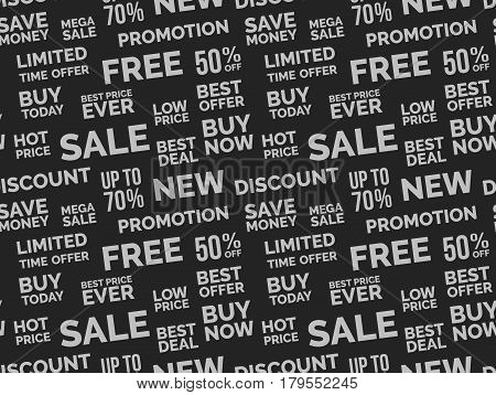 Sale seamless pattern background vector image. Different words about sales discount and bonuses.