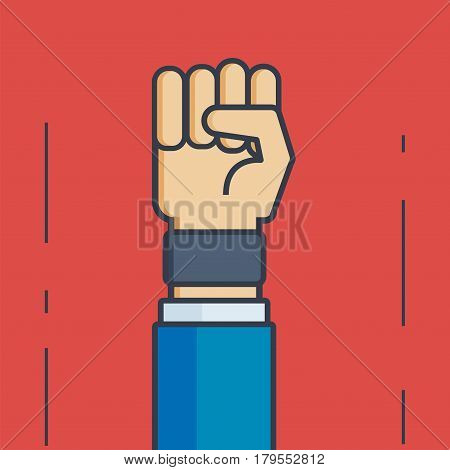 Businessman Hand with Fist  - Vector Illustration