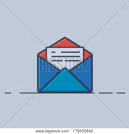 Mail Icon, Flat Line Design  - Vector Illustration