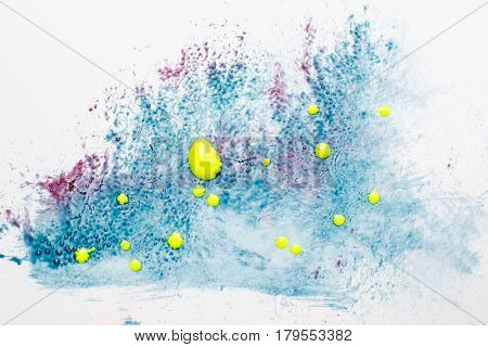 Creative art, abstract colorful painting. Bacteria sample, disease in microscope laboratory swab, microbiology