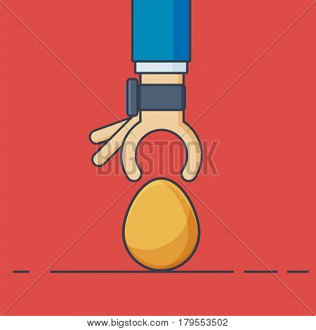 Businessman Hand with Smartwatch and Gold Egg - Vector Illustration