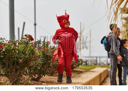 Tel Aviv - 20 February 2017: People Wearing Costumes In Israel During Purim Celebration