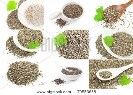 Group of chia seeds isolated on a white cutout