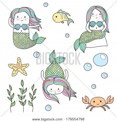 Cute doodle kid-like drawn style vector set of mermaids and underwater sea life creatures. Chibi fun mermaids, crab, fish and starfish, sea weeds and bubbles.