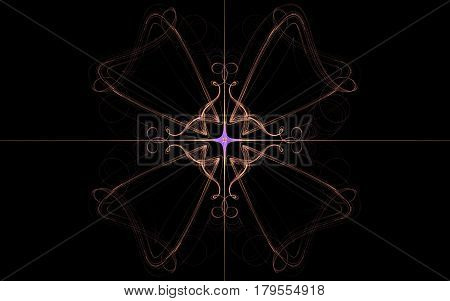 An image of a vintage pattern of yellow lines constituting a symmetrical flower with four petals and a lilac star in the middle with divergent rays on a black background.