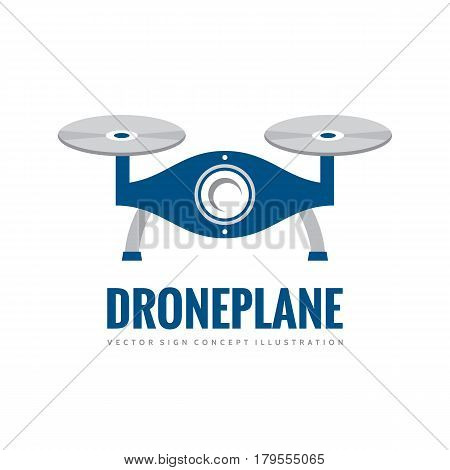 Drone plane - vector logo template concept illustration. Quadcopter creative sign. Helicopter graphic icon symbol. Design element.