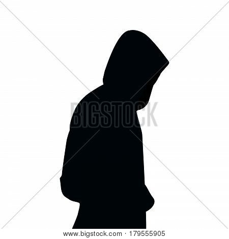Man in the hood , hood on white background