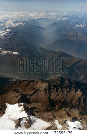 Glaciers In The Mountains Of The Alps.