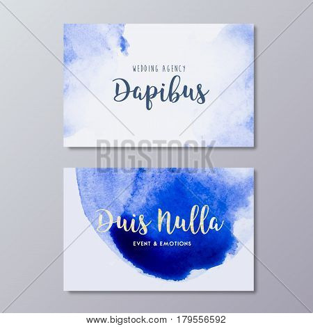 Premade wedding photography business card art design vector templates. Hand drawn abstract blue watercolor spot texture and fashion branding identity.