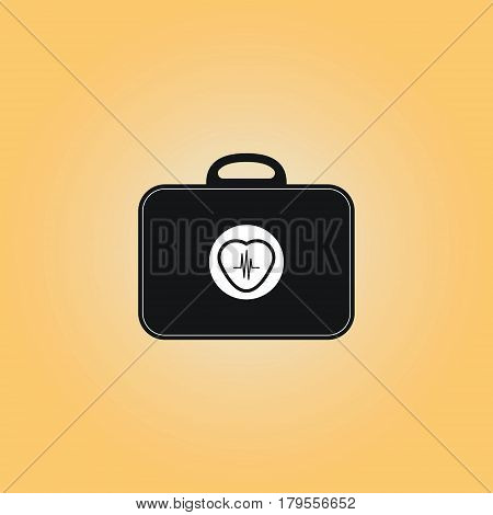 Electrocardiogram tool box vector symbol. Heart beat flat vector sign. Heart beat isolated icon. Wearable medicine chest vector illustration.