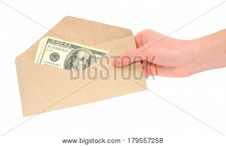 Hand and money in envelope isolated on white background