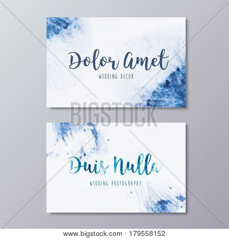 Premade wedding photography business card design. Hand drawn abstract blue watercolor texture and wedding branding identity.