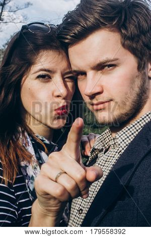 Stylish Hipster Couple Having Fun And Smiling In Sunny Countryside. Space For Text. Rustic Man And W