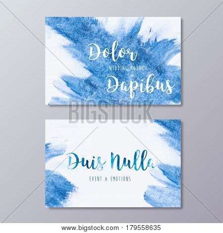Premade wedding agency business card design templates. Hand drawn abstract blue watercolor splash texture and event manager branding identity.