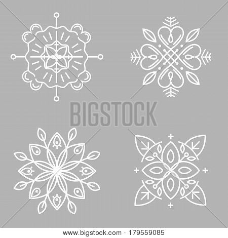 Vector abstract emblems - outline monograms - ecology signs and icons - logo design templates for floral business