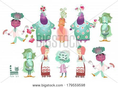 Collection of cute cartoon vegetables isolated on white background: cucumber, beet, eggplant, carrot, cabbage and strawberry. Charming characters. Book illustration. Vector image. Symbol mascot.