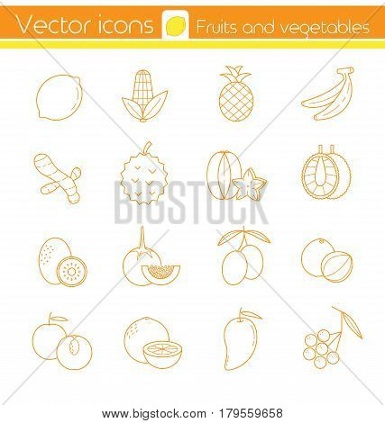 Yellow fruits and vegetables Line vector icons Sign and symbol.