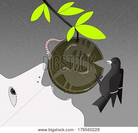 The face of a person in profile with an open mouth tries to bite off the coin with a dollar sign on the branch. Coin with chipped edges. A worm and a bird bite off pieces of a coin. On a graphic background. Computer simulation of graphic drawing.