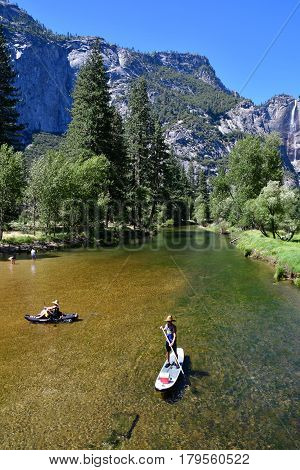 USA - july 12 2016 : river in the Yosemite National Park