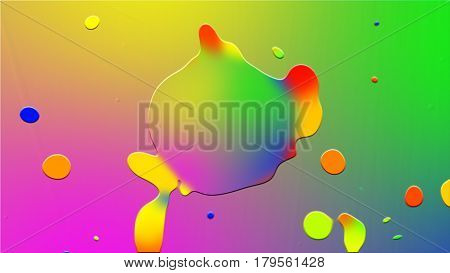 A Rainbow Of Blue, Green, Red, Pink And Yellow Flowers Bounces Off, The Drops Separate From The Pudd