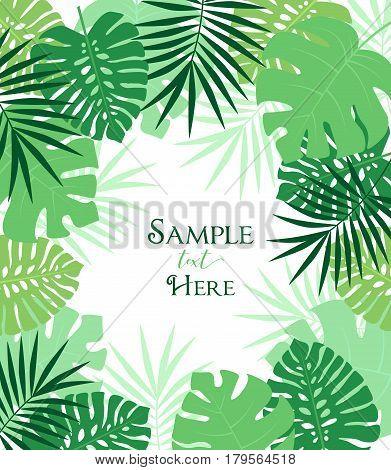 Vector illustration of palm leaf decoration. Exotic tree palm leaf